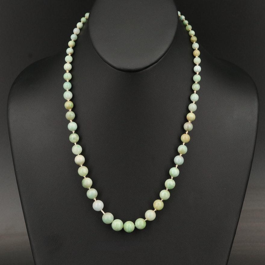 Vintage Graduated Jadeite Necklace