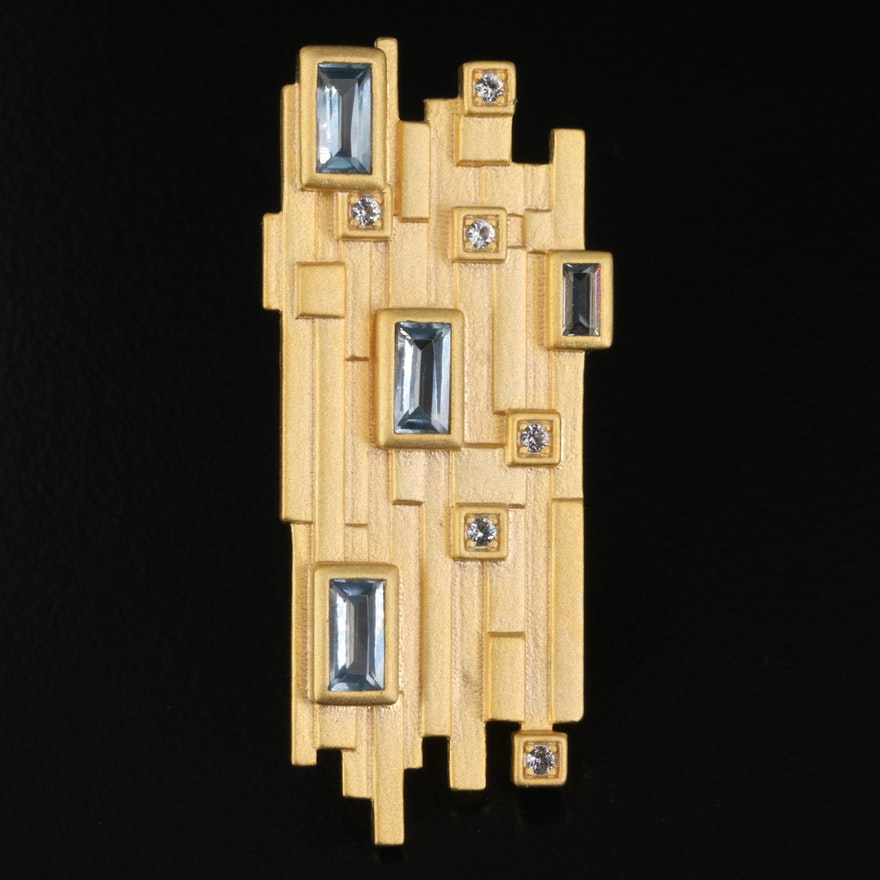 Mid-Century Modern Style Sterling Spinel Brooch