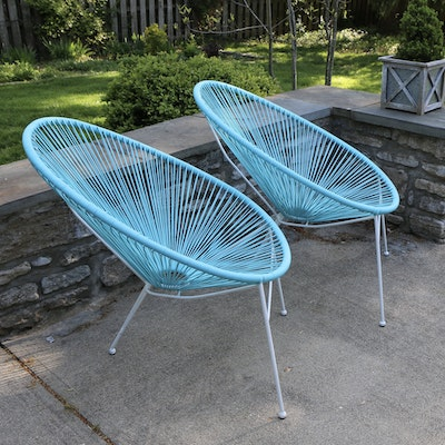 Mid-Century Style Bright Blue Vinyl Wicker Patio Chairs