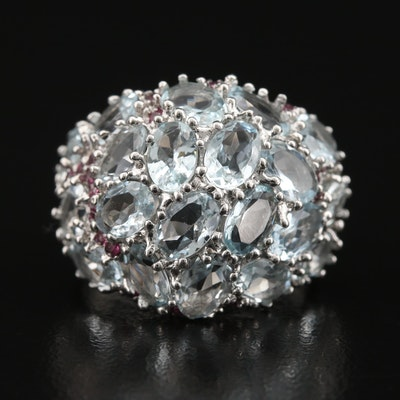 Sterling Aquamarine and Garnet Bombé Ring