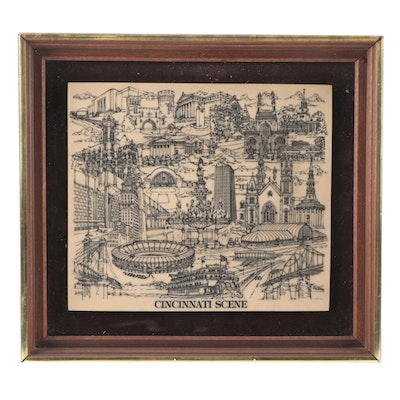 """Cincinnati Scene"" CPI Etched Resin Cincinnati, Ohio Landmark Art"