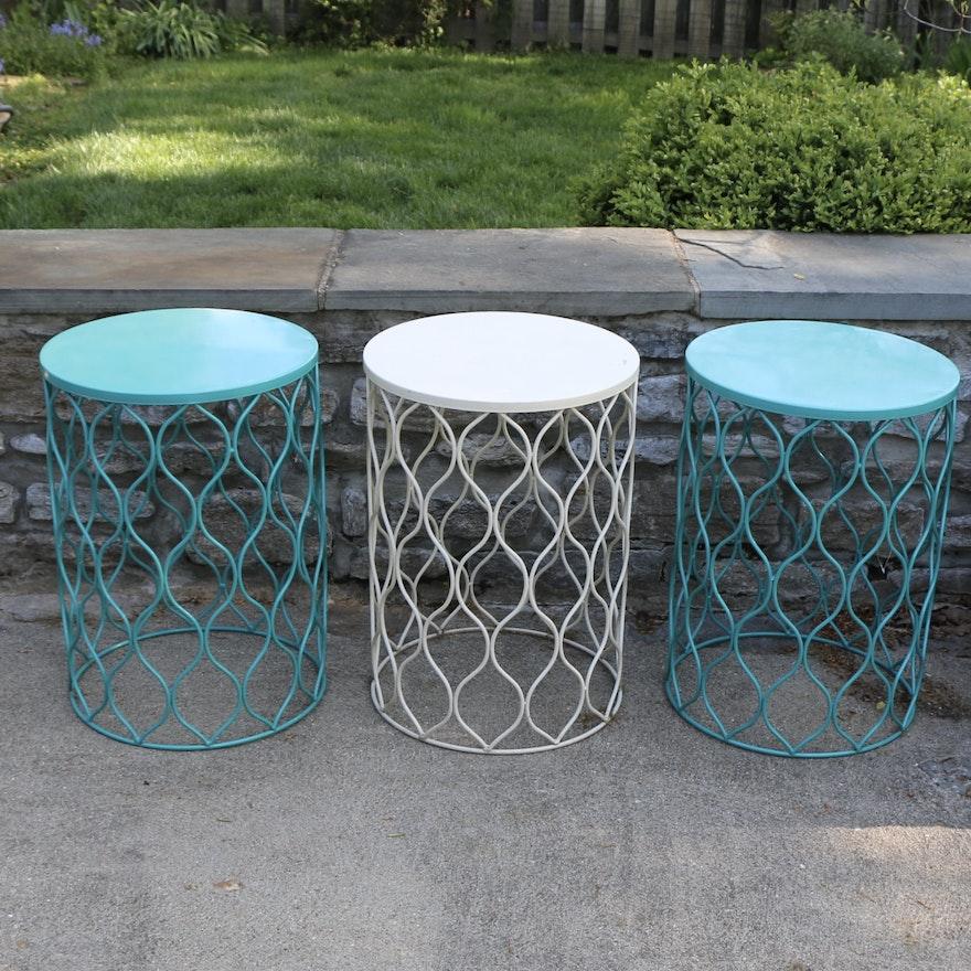Three Metal Geometric Outdoor Patio Side Tables