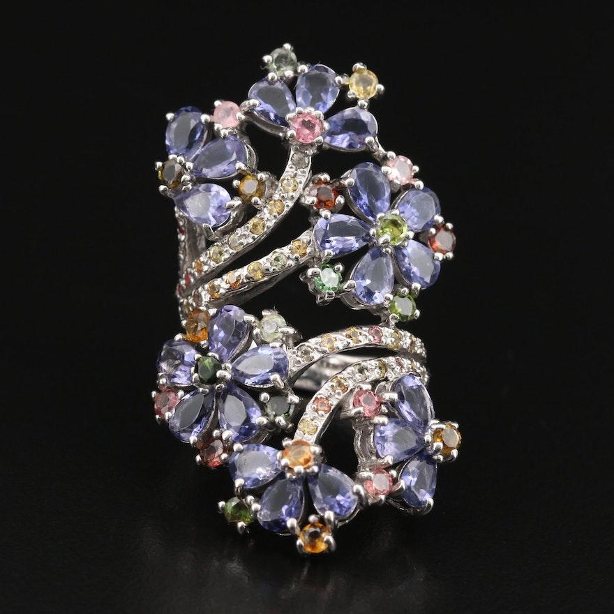 Sterling Gemstone Wrap Floral Statement Ring