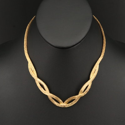 18K Textured Woven Wheat Chain Necklace