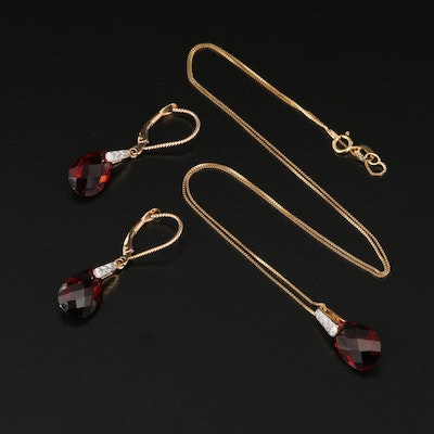 14K Garnet and Diamond Necklace and Earring Set