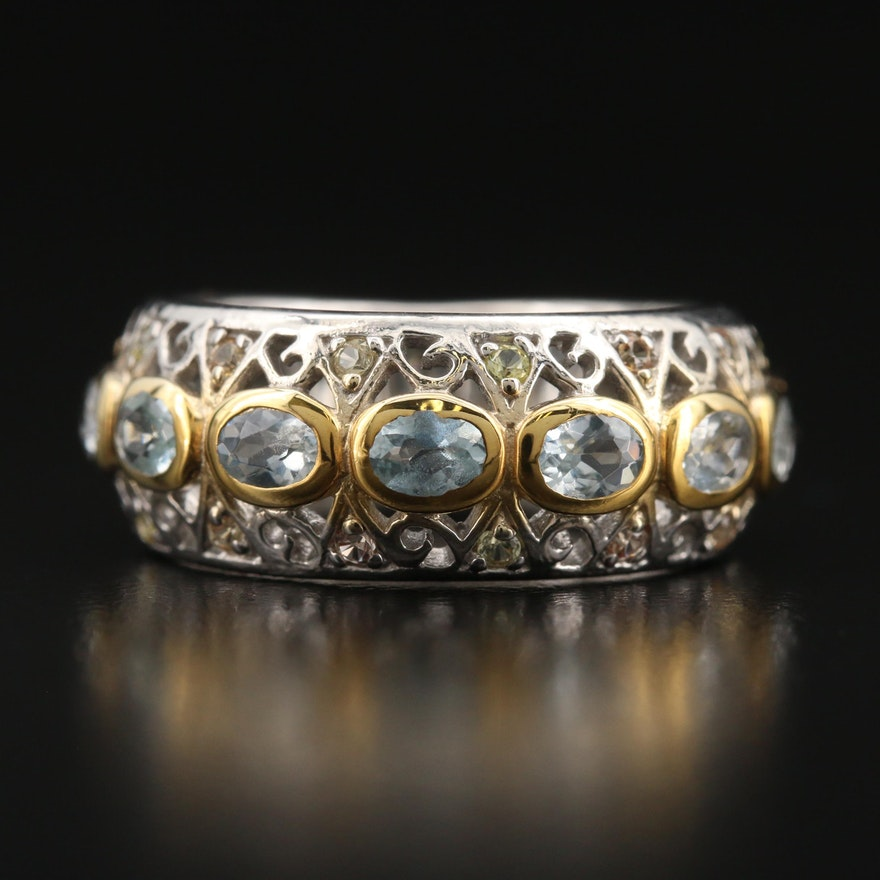 Sterling Aquamarine and Sapphire Scrollwork Band