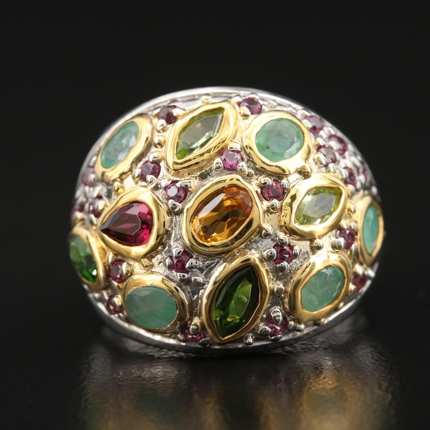 Sterling Bombé Ring with Garnet, Beryl and Diopside