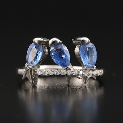 Sterling Kyanite and Cubic Zirconia Perched Bird Ring