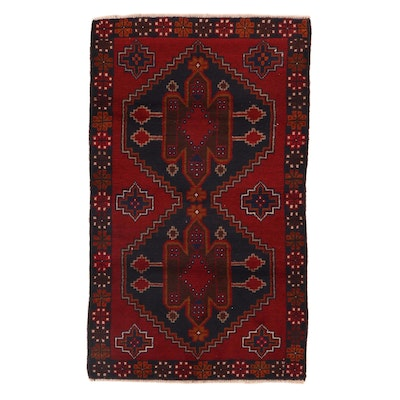 2'11 x 4'11 Hand-Knotted Afghan Turkmen Rug, 2000s