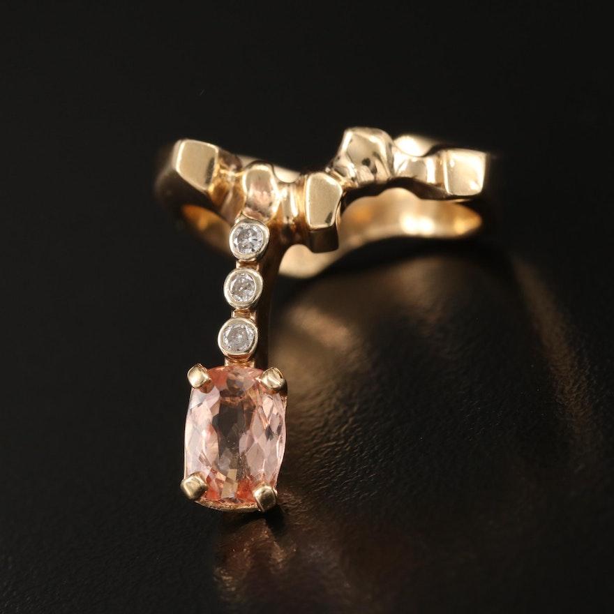Contemporary Frederick Prete 14K Topaz and Diamond Ring with Euro Shank