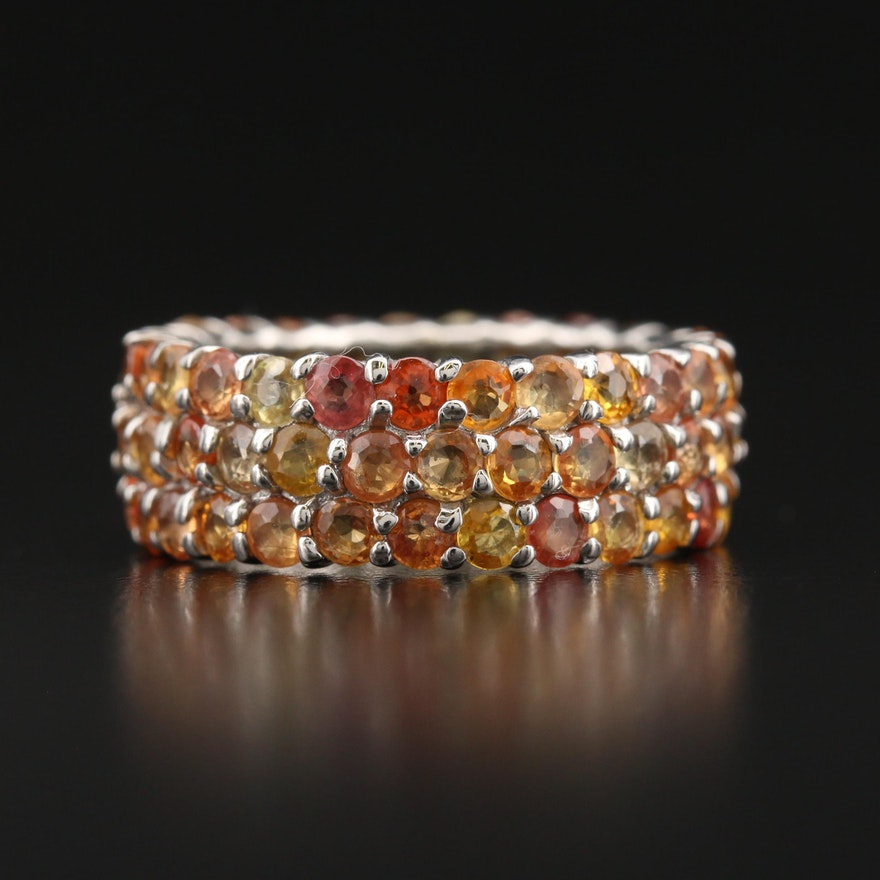 Sterling Sapphire Multi-Row Eternity Band
