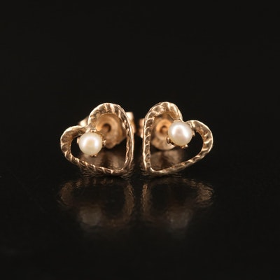 10K Pearl Heart Stud Earrings
