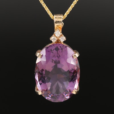Italian 14K Amethyst and Diamond Enhancer Pendant Necklace