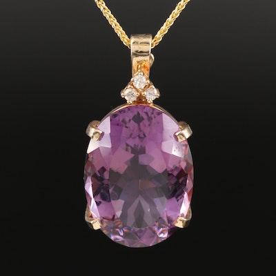 Italian 14K Amethyst and Diamond Enhancer Pendant Necklace