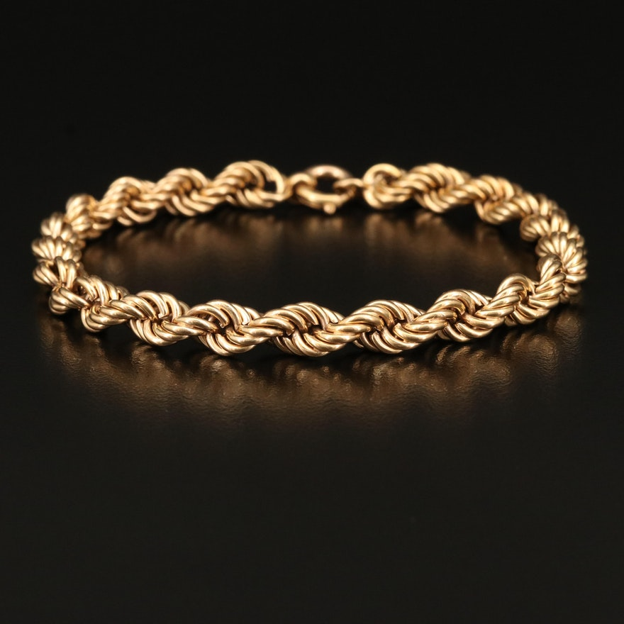 Vintage 18K Italian Rope Chain Bracelet