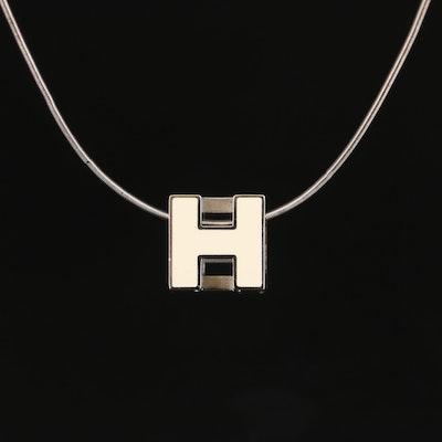 """Hermès """"H"""" Enamel Pendant Necklace"""