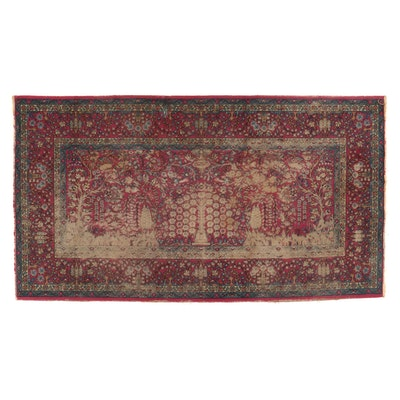 4'11 x 8'11 Machine Made Persian Kerman Style Pictorial Area Rug
