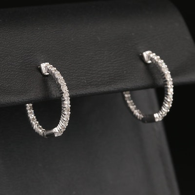 10K Diamond Inside-Out Hoop Earrings