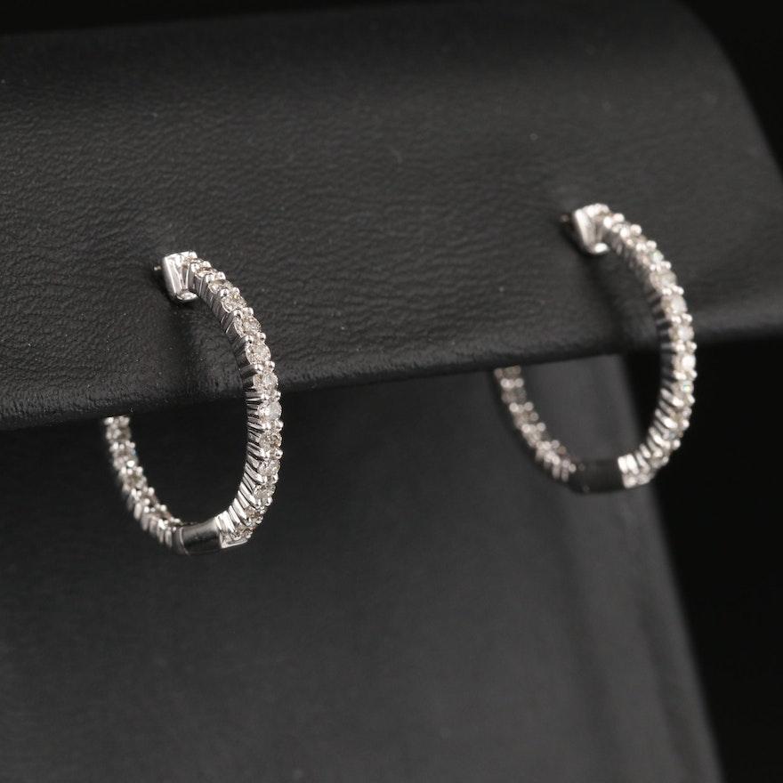 10K Diamond Inside-Out Hoop Earrings