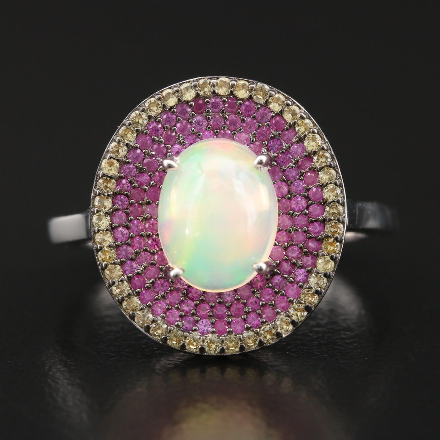 Sterling Opal Ring with Multicolored Sapphire Halos
