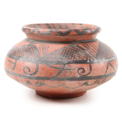 Native American Hopi Style Hand-Painted Terracotta Bowl