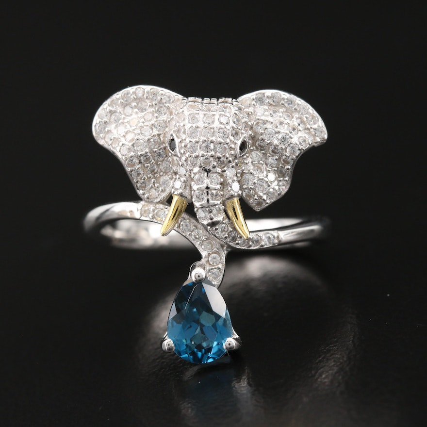 Sterling London Blue Topaz and Pavé Cubic Zirconia Elephant Ring