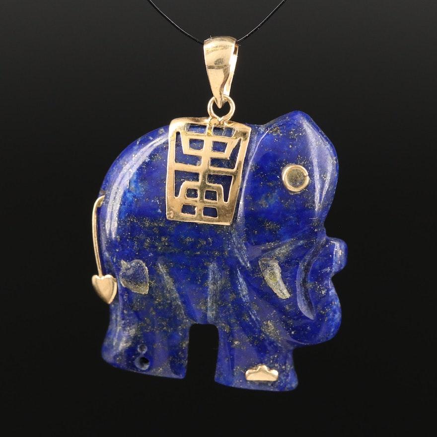 14K Carved Lapis Lazuli Elephant Pendant