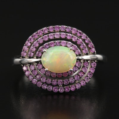 Sterling Opal and Sapphire Halo Ring