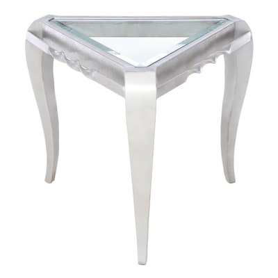 Modernist Style Silver-Painted Metal and Glass Top Triangular Side Table