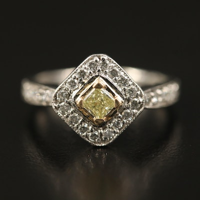 Platinum Diamond Halo Ring with 14K Accents