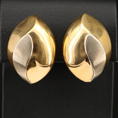 Neiman Marcus 18K Clip Earrings with Brushed Satin Detail