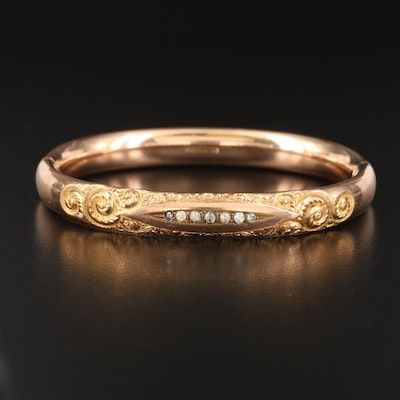 Victorian Repoussé and Paste Hinged Bangle
