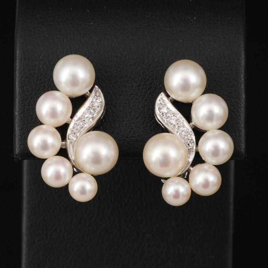 14K Pearl and Diamond Clip Earrings