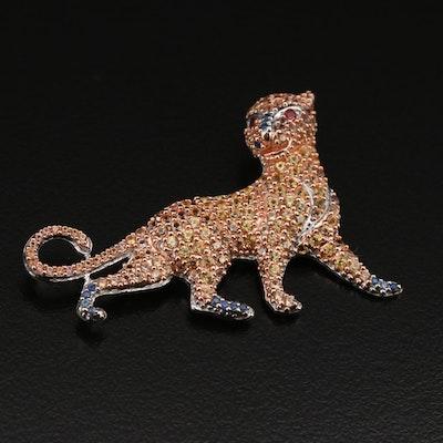 Sterling Sapphire Feline Slide Pendant