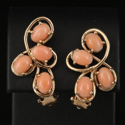 Vintage 14K Coral Clip Earrings