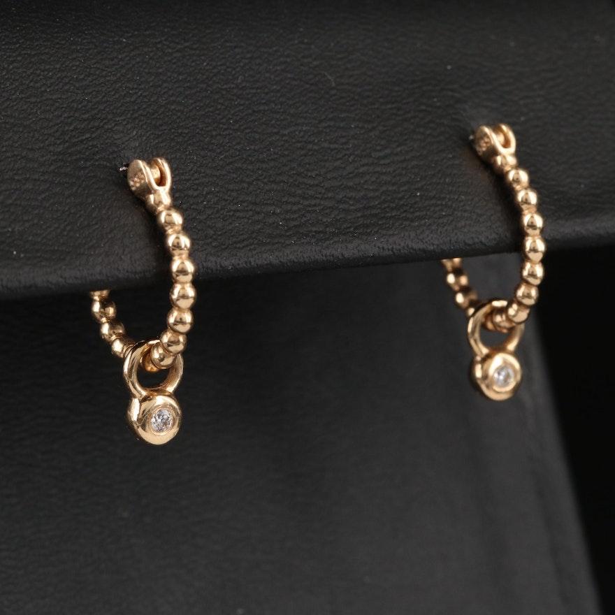 Pandora 14K Hoop Earrings with Diamond Charm