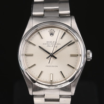 1981 Rolex Air-King Precision 5500 Stainless Steel Automatic Wristwatch