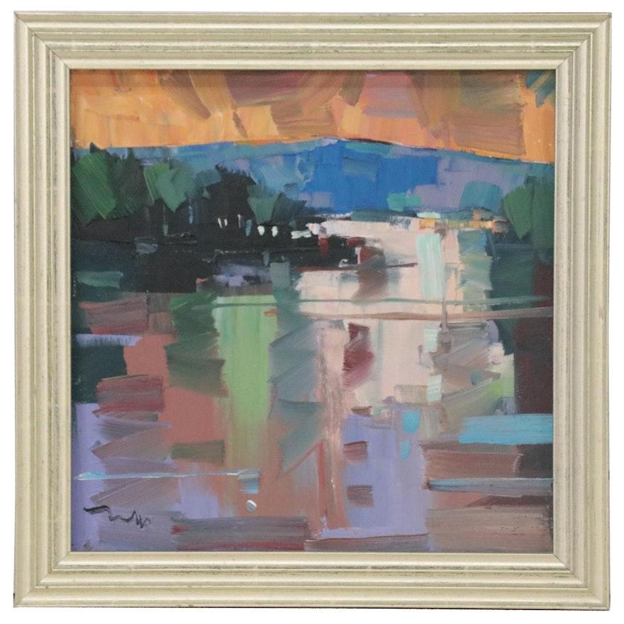 "Jose Trujillo Abstract Landscape Oil Painting ""Lake Twilight,"" 2020"