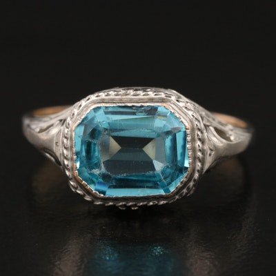Vintage 10K Blue Glass Ring