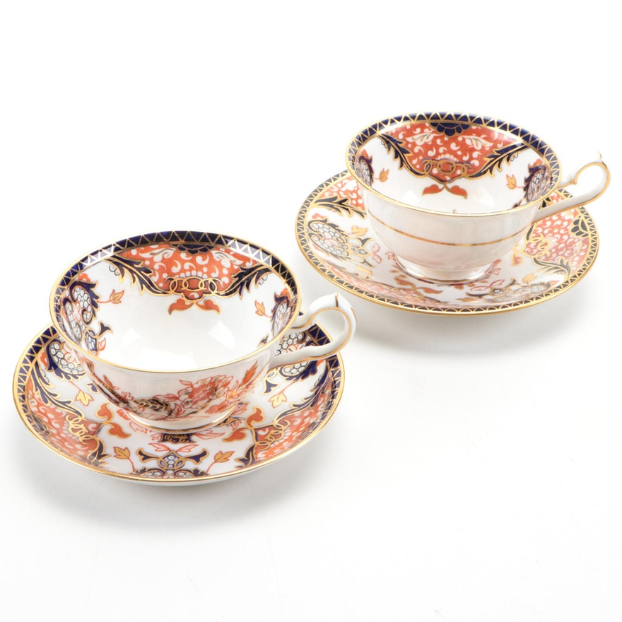"""Royal Crown Derby """"Kings"""" Bone China Teacups and Saucers, Mid to Late 20th C."""