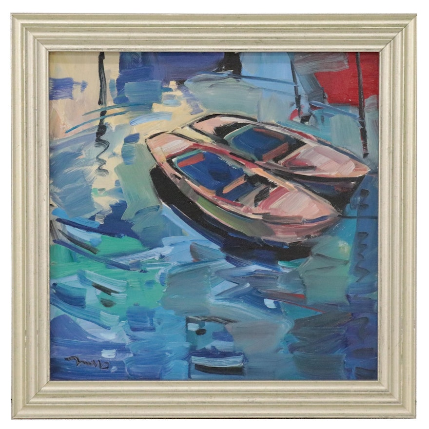 """Jose Trujillo Oil Painting """"Two Row Boats,"""" 2020"""