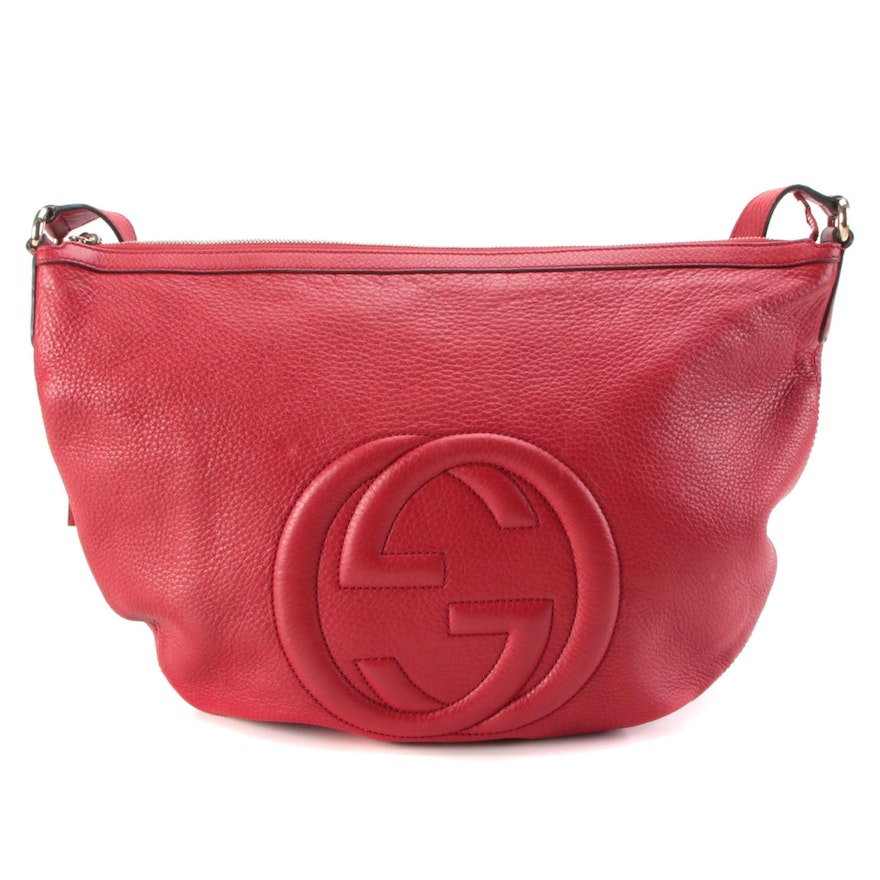 Gucci Soho Red Pebbled Leather Shoulder Bag with Tassel Zipper Pull