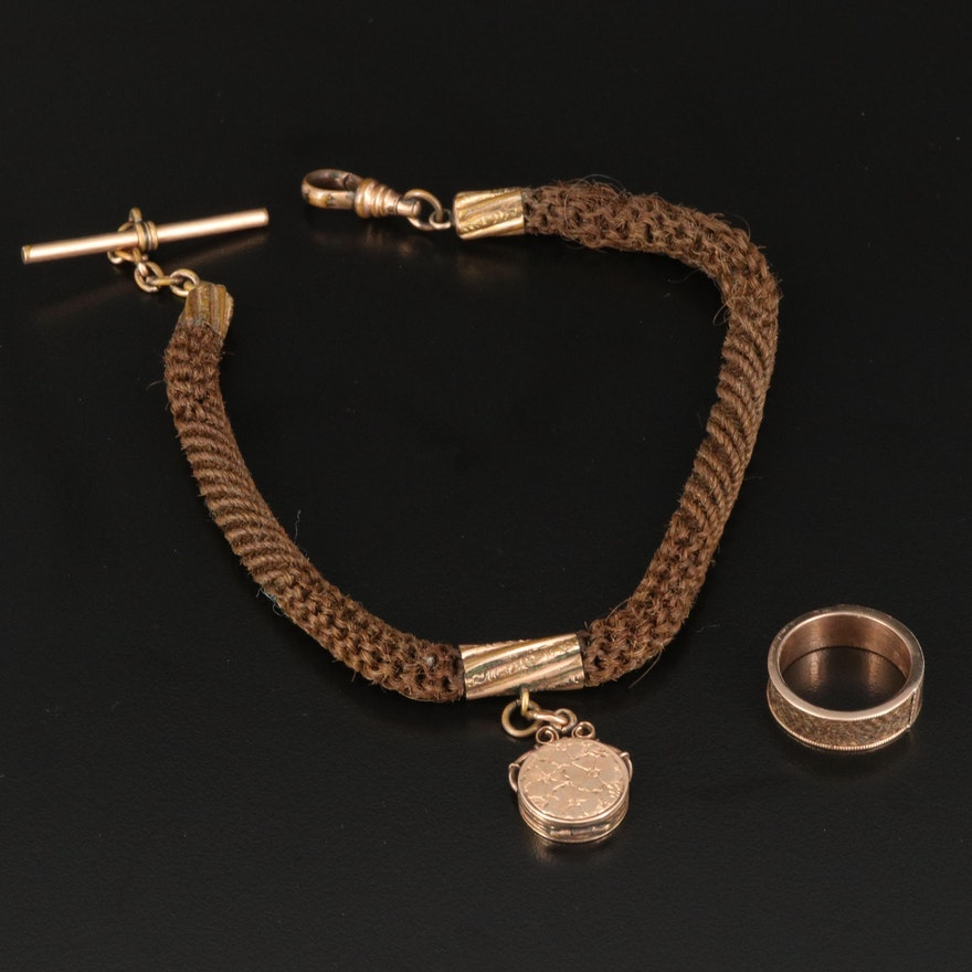 Victorian 10K Mourning Band and Watch Fob Chain with 10K Locket