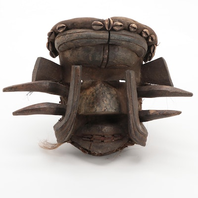 Guere Style Carved Wood Mask with Embellishments, West Africa