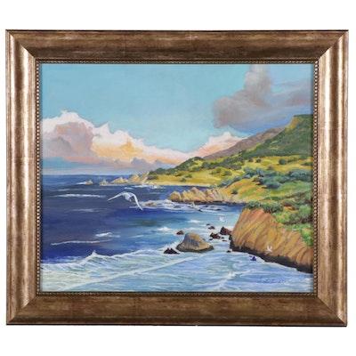 "Joel Lichtenstul Acrylic Painting ""Big Sur,"" 21st Century"