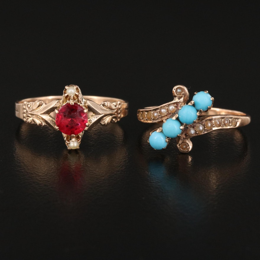 Antique 10K Pearl and Imitation Turquoise Bypass Ring with Ruby Ring