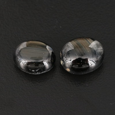 Loose 17.45 CTW Oval Black Star Sapphire Double Cabochons