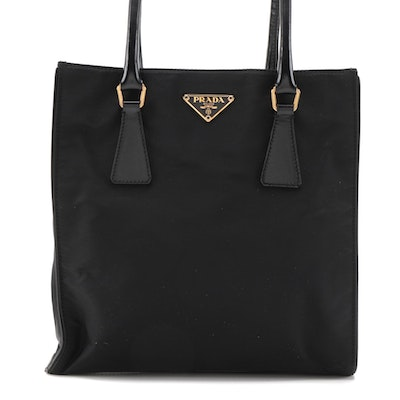 Prada Small Shoulder Tote in Black Tessuto Nylon with Leather Trim