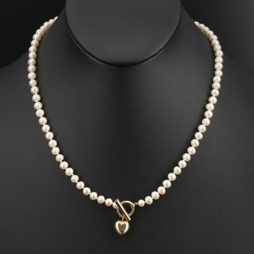 Pearl Necklace with 14K Clasp and Puff Heart Charm