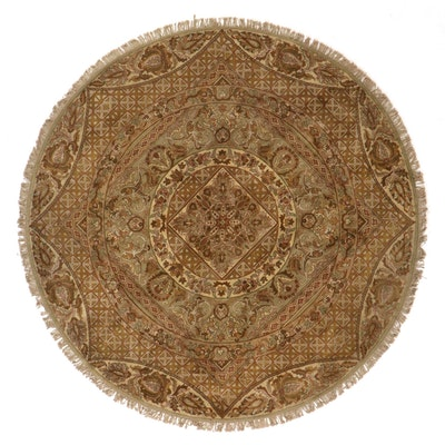 8'7 Round Hand-Knotted Floral Medallion Area Rug